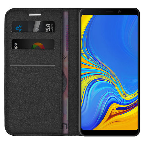Leather Wallet Case & Card Holder for Samsung Galaxy A9 (2018) - Black